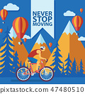 Triathlon track vector illustration. Never stop moving concept banner, poster, brochure, flyer 47480510