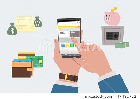 Smart life, various mobile application usage vector illustration 001 47481722