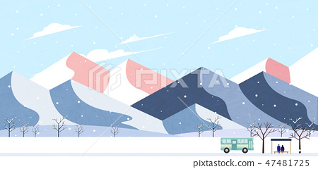 Winter landscape with forest background vector illustration 008 47481725