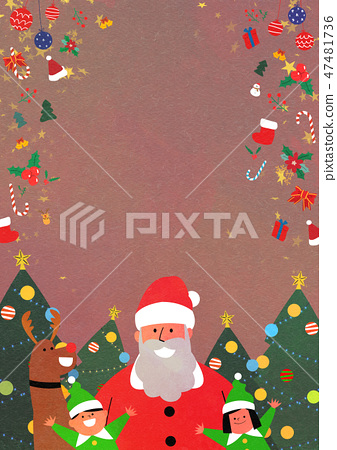Christmas Party with Santa and family flat design vector illustration 004 47481736