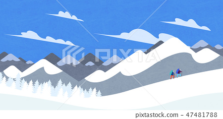 Winter landscape with forest background vector illustration 009 47481788