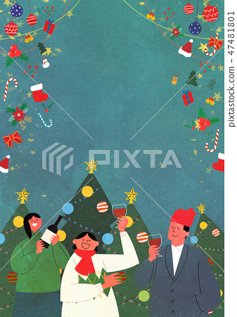 Christmas Party with Santa and family flat design vector illustration 006 47481801