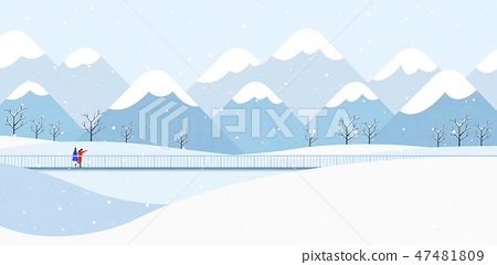 Winter landscape with forest background vector illustration 002 47481809