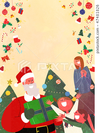 Christmas Party with Santa and family flat design vector illustration 001 47481826