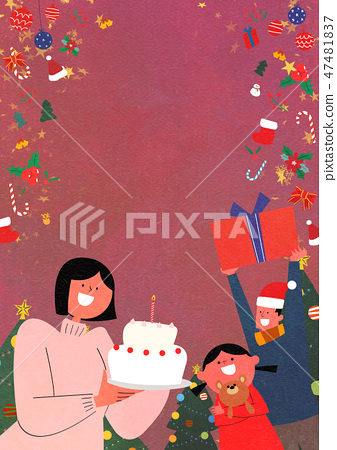 Christmas Party with Santa and family flat design vector illustration 003 47481837