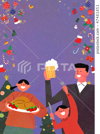 Christmas Party with Santa and family flat design vector illustration 007 47481851