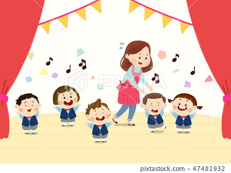 Preschool Kids daily life vector illustration 002 47481932