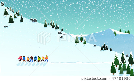 Beautiful winter landscape in nature. Winter landscape background vector illustration.010 47481986