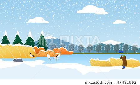 Beautiful winter landscape in nature. Winter landscape background vector illustration.009 47481992