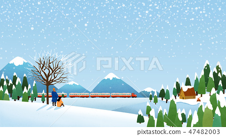 Beautiful winter landscape in nature. Winter landscape background vector illustration.008 47482003