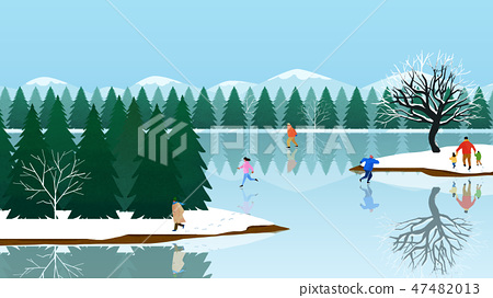 Beautiful winter landscape in nature. Winter landscape background vector illustration.007 47482013