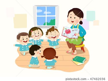 Preschool Kids daily life vector illustration 008 47482036