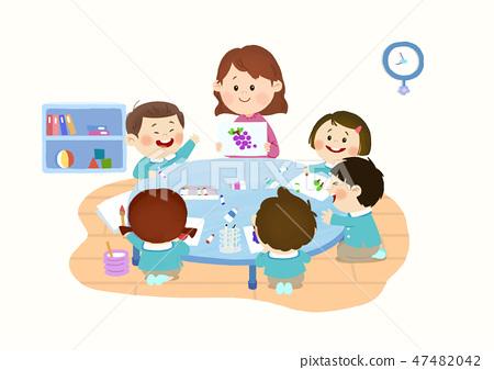 Preschool Kids daily life vector illustration 005 47482042