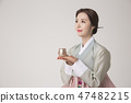 Korean beauty concept photo. Young beautiful woman wearing Hanbok, Korean traditional dress. 351 47482215