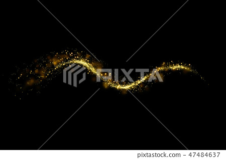 Gold glitter particles lights trail and bokeh 47484637