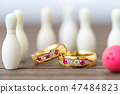 Wedding rings with bowling pin 47484823