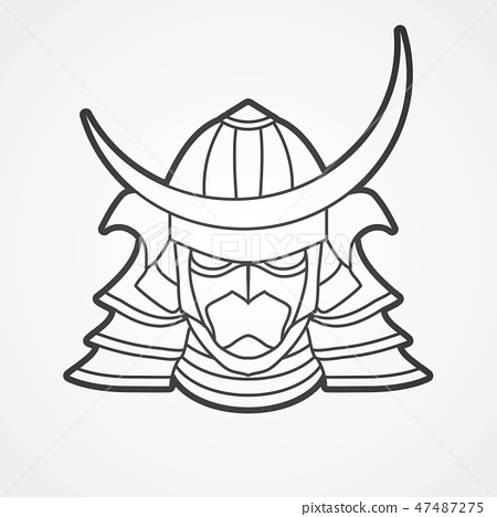 Samurai mask helmet cartoon graphic vector 47487275