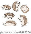 刺猬各种姿势手写插图 47487366