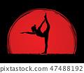 Yoga pose exercise cartoon graphic vector. 47488192
