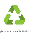 Recycling symbol. Environmental or ecological symbol. Simple flat vector icon. Green sign 47489473
