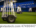 Mobile grow lighting system in sports stadium at night. 47490447