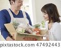 주방에서받은 야채를 아내에게 보여 남편 47492443