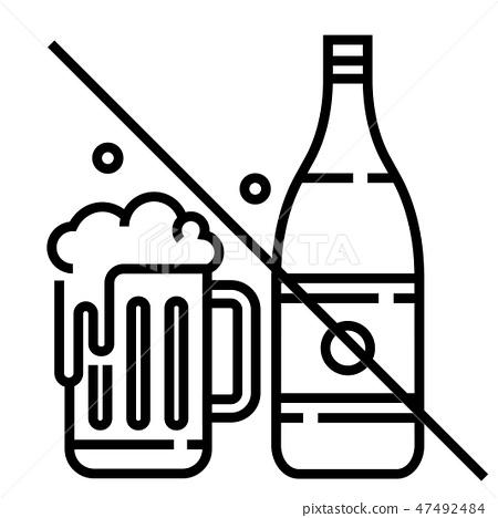 No alcohol Line illustration 47492484