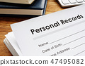 Personal records on a table. Privacy data. 47495082