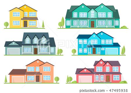 Vector flat icon suburban american house. 47495938