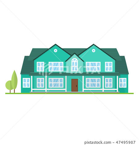 Vector flat suburban american house. For web design and application interface, also useful for 47495987