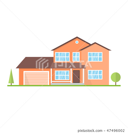 Vector flat suburban american house. For web design and application interface, also useful for 47496002