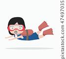 small girl Scuba diving 47497035