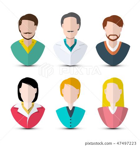 Men and Women Icons. Vector Faceless Web Avatars 47497223
