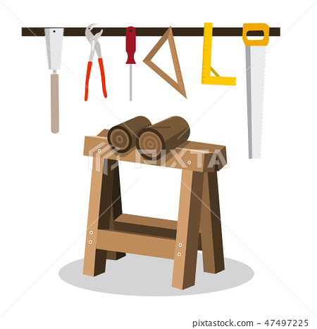 Wooden Logs on Sawhorse with Saws and Tools 47497225