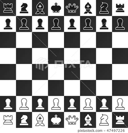 Black and White Chess Pieces on Chessboard 47497226