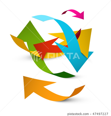 Colorful Bent Paper Arrows on White Background 47497227