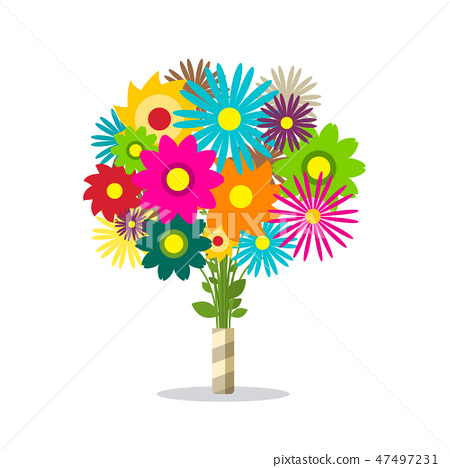Colorful Spring Bunch of Flowers Isolated 47497231