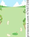 高爾夫球場藍天背景例證 47497298