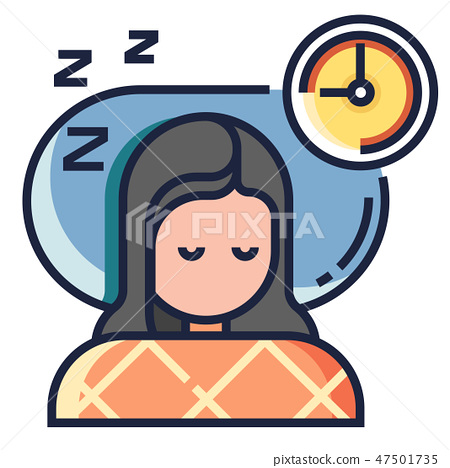 Sleeping well LineColor illustration 47501735