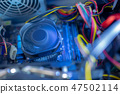 PC components in dust. CPU fan is work. Dusty power wires 47502114