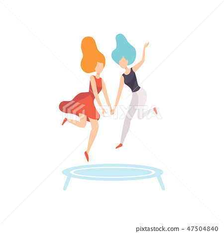 Two Happy Women Friends Jumping on Trampoline, Female Friendship Vector Illustration 47504840