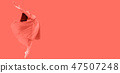 Dance of the Ballerina in a jump,  of living coral background 47507248