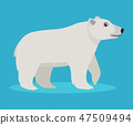 Cute big polar white bear icon, isolated on blue background, big furry beast, vector illustration in 47509494