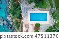 Aerial view at the pool and sea.  47511370