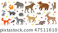 Big set of forest woodland animals isolated vector illustration 47511610