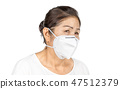old woman wearing N95 face mask for healthy 47512379