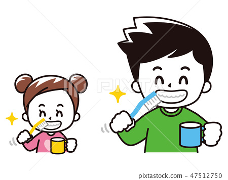 Parent and child to brush teeth 47512750