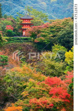 Koyasu pagoda at Kiyomizu-dera Temple area in the autumn season, Kyoto 47512873