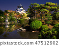 view on Osaka Castle from the garden at night, Japan 47512902
