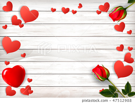 Red roses and paper hearts on a wooden sign. 47512988
